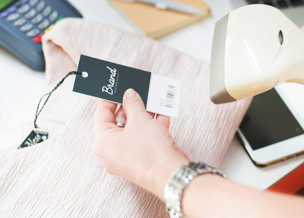 Woman scanning a barcode
