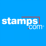 A logo for Stamps.com, a shipping platform for ecommerce.