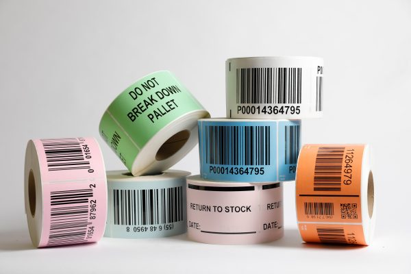Multiple labels are placed together with barcodes printed on them