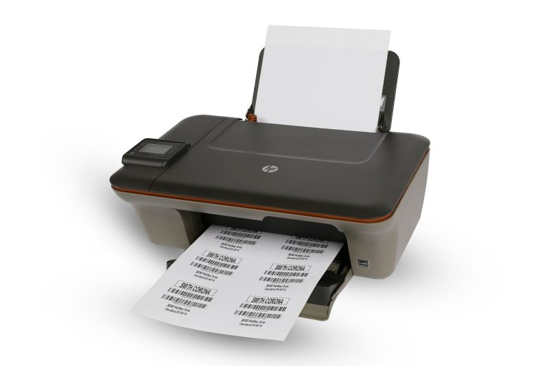An inkjet printer that's used in home and office settings to print sheet labels