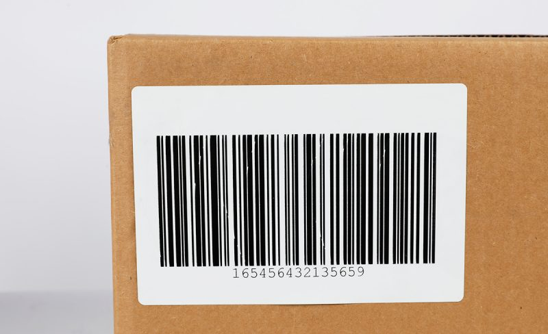 A sample barcode label on a box