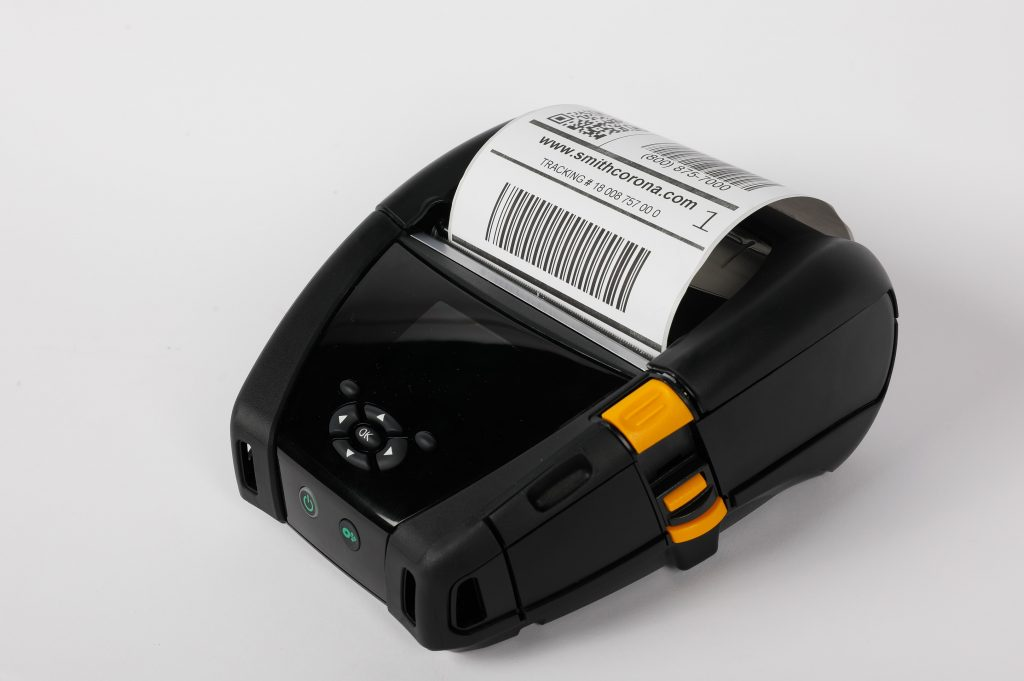 A Zebra ZQ630 thermal mobile printer with a direct thermal label printed