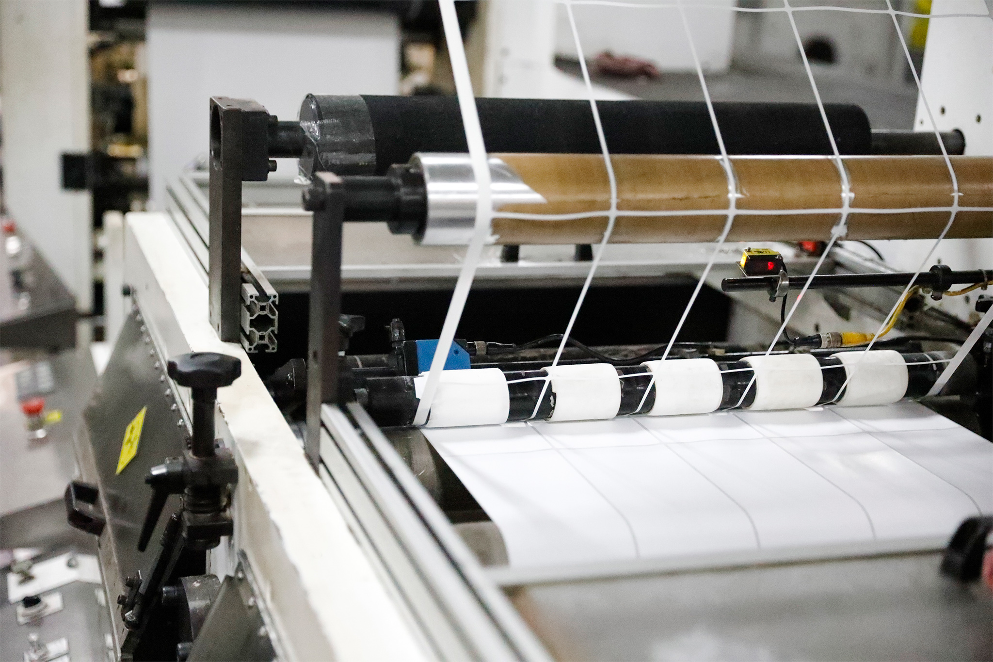A die cutter cuts shapes into labels as they move down the production line