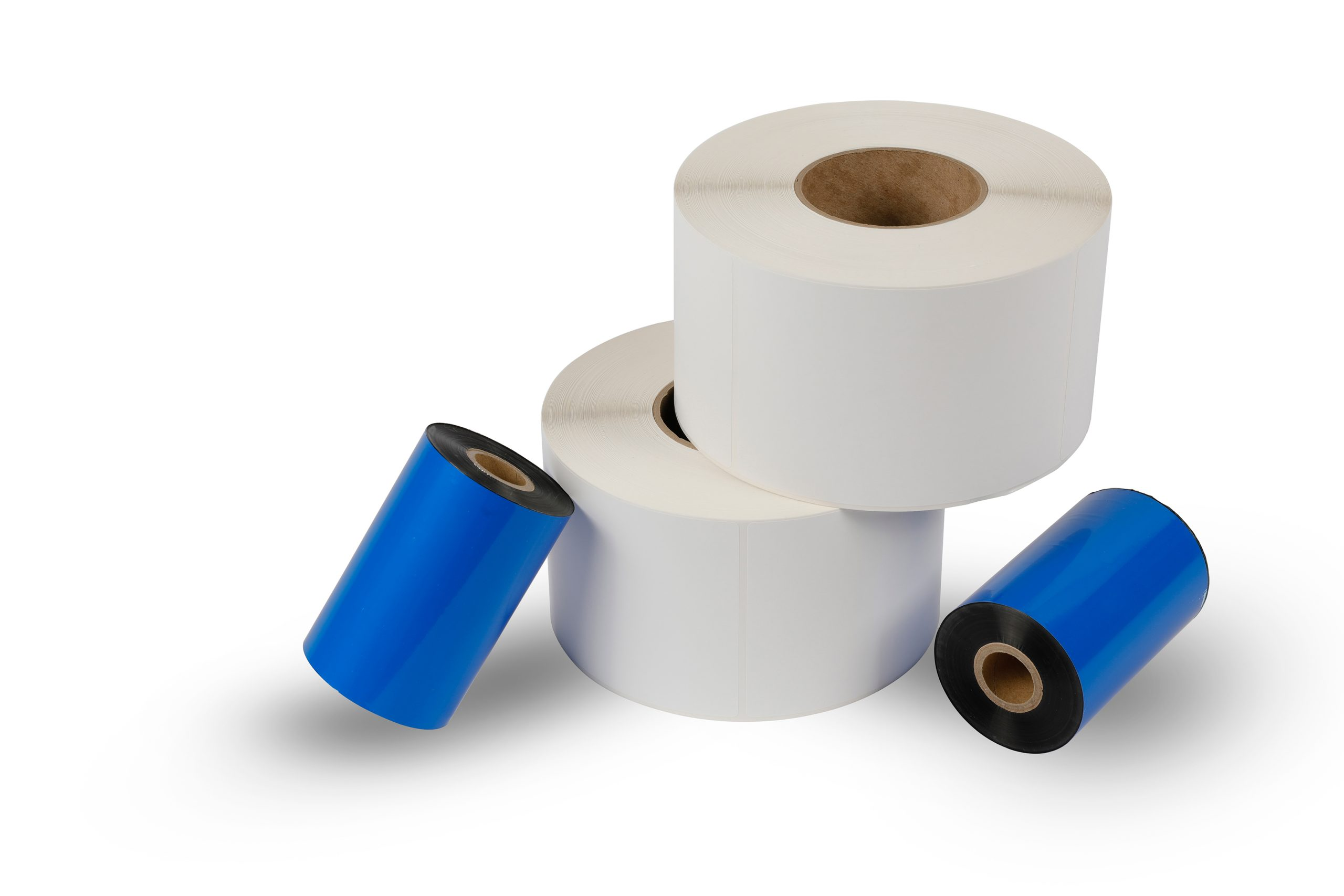 Rolls of thermal transfer labels and thermal ribbon