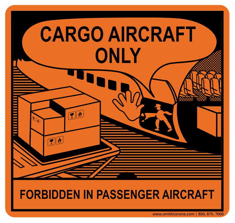 A Cargo Only Aircraft CAO) label is orange in color and has a characterization of cargo being loaded onto an aircraft with text