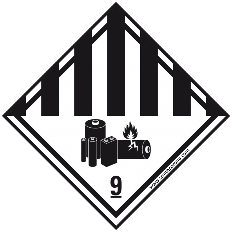 A Class 9 Hazard label is diamond shaped with black vertical lines, a battery image, and a number 9