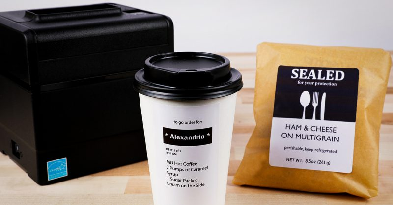 A linerless printer and products labeled with linerless labels to show the industries they are used in, such as quick serving restaurants