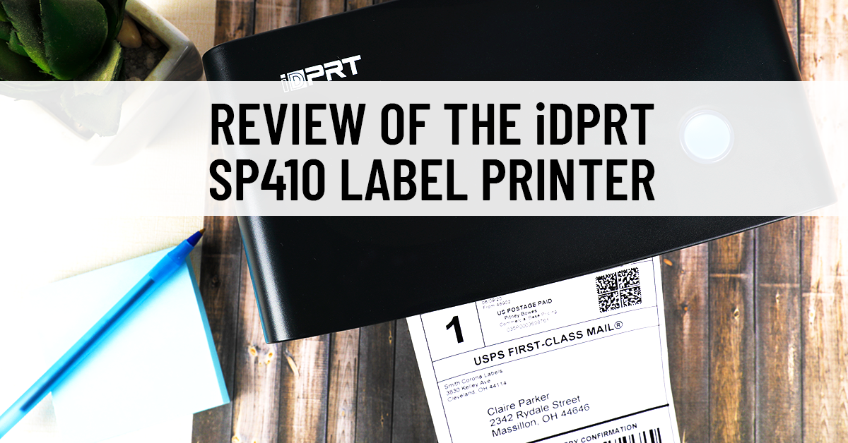 A SP410 thermal label printer with a shipping label already printed and ready for application