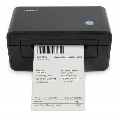 A front view of a SP410 thermal printer with a shipping label printed