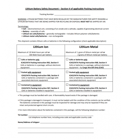 A document required by some carriers in order to ship lithium ion batteries