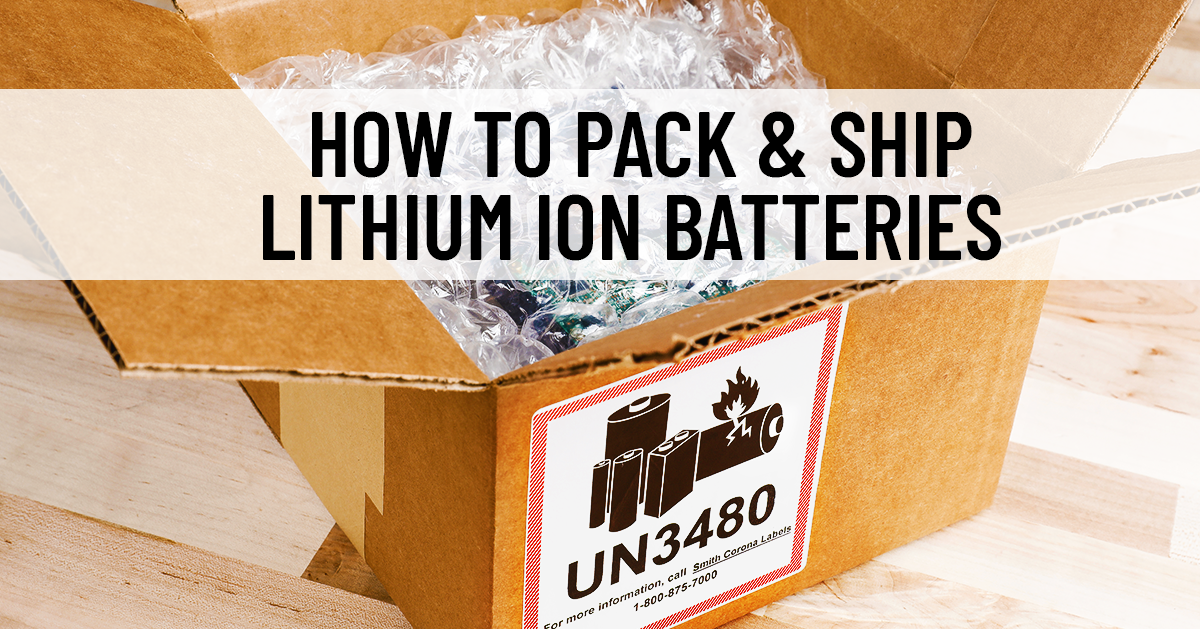 A battery is wrapped inside a blister pack and placed in a box with a UN 3480 label on it
