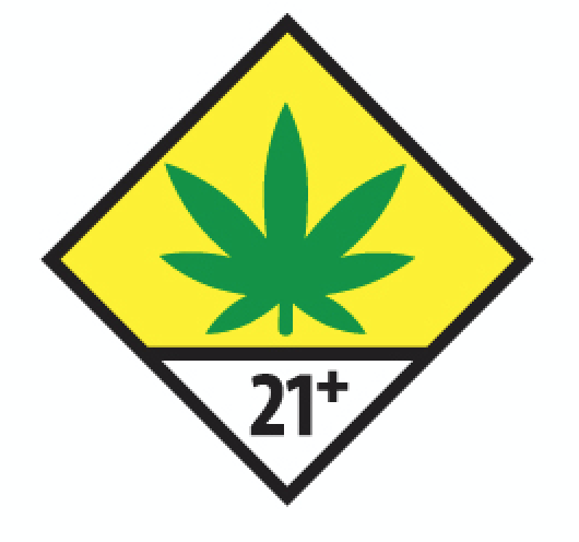 The universal warning symbol for cannabis in Washington includes a green leaf, yellow background, and 21+ text