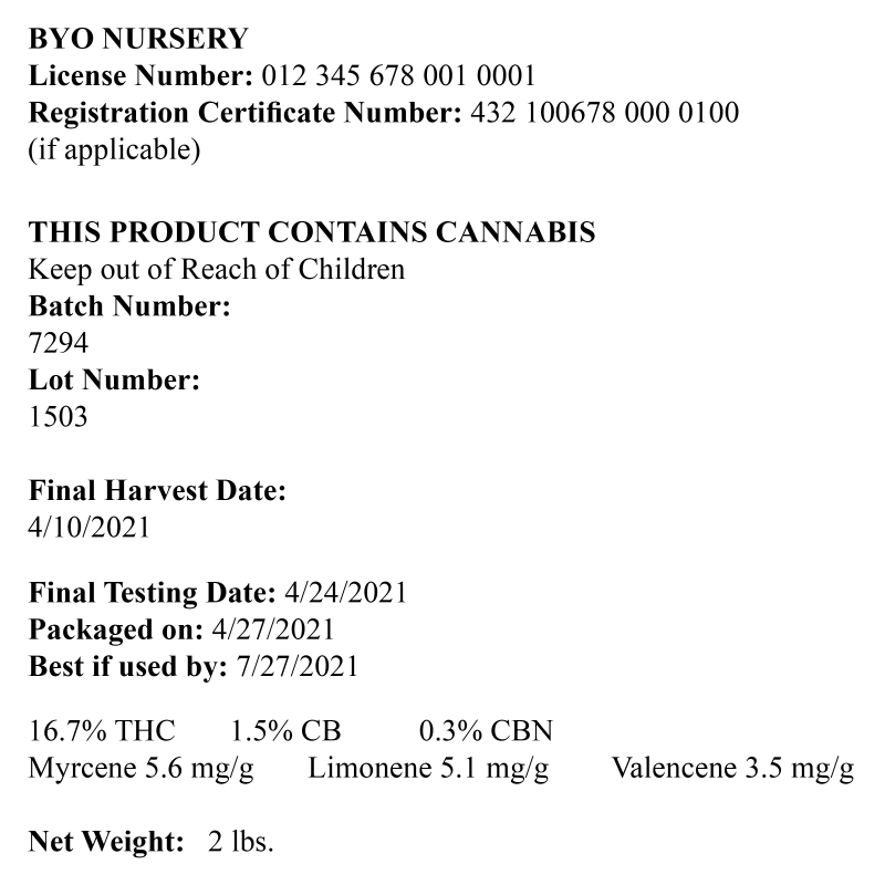 The labeling requirements for cannabis cultivation facilities in Nevada