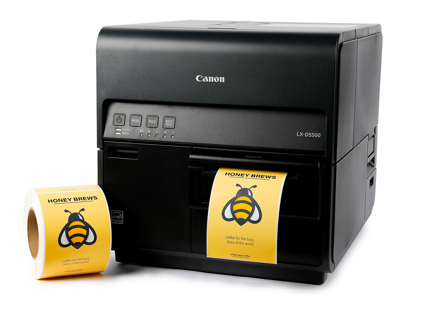 A Canon LX-D5500 inkjet label printer with full color labels