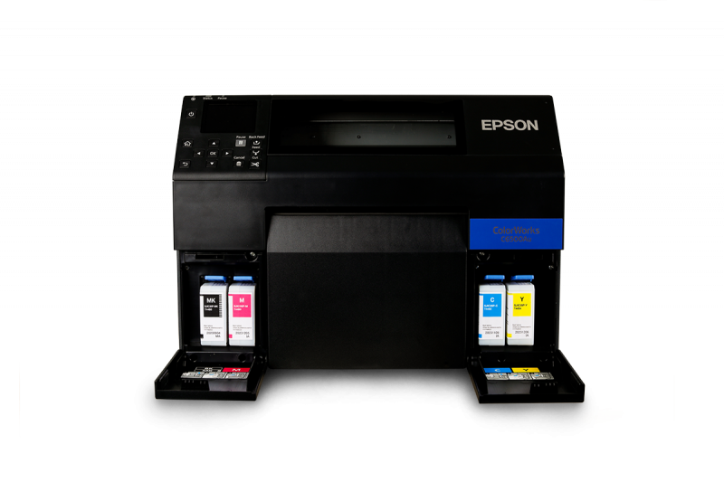 The Epson C6500Au showing the ink cartridge placements on the front of the printer
