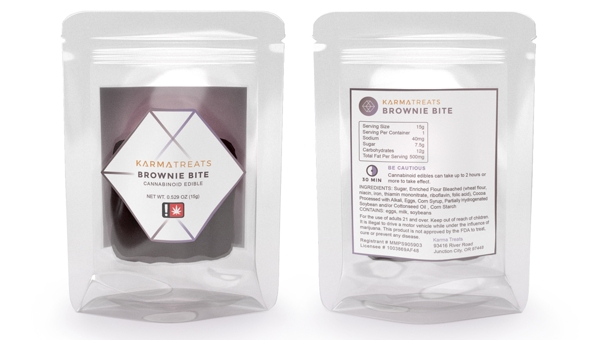 Inkjet labels on a resealable bag detail the product information for cannabis edibles