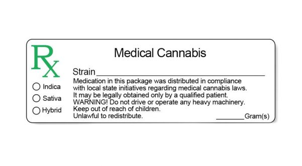 A small label with information printed for the medical use of cannabis