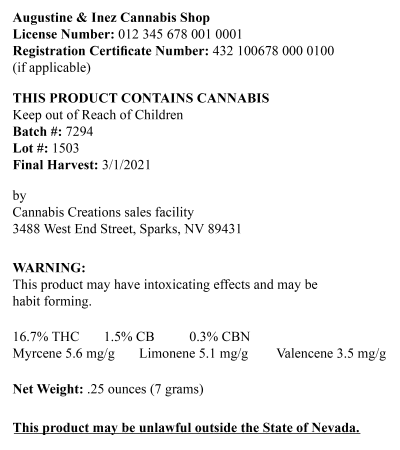 The labeling requirements for usable cannabis in Nevada