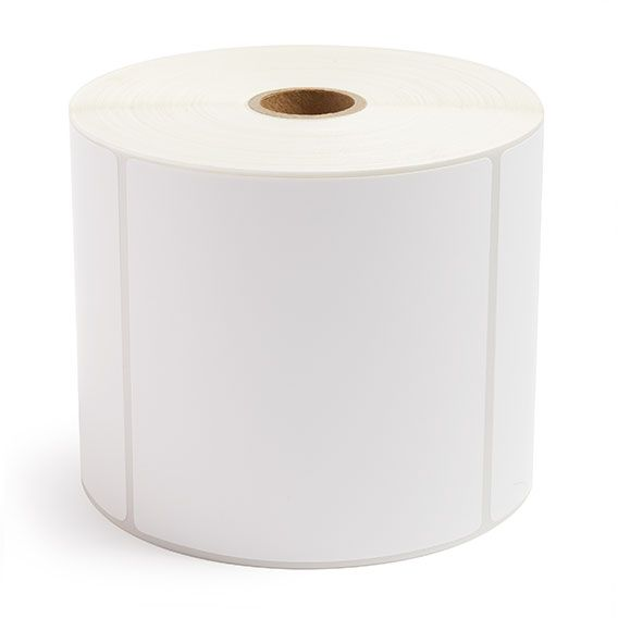 """4"""" x 4"""" White Matte Paper - Thermal Transfer Labels - 1"""" Core / 5"""" Outer Diameter"""