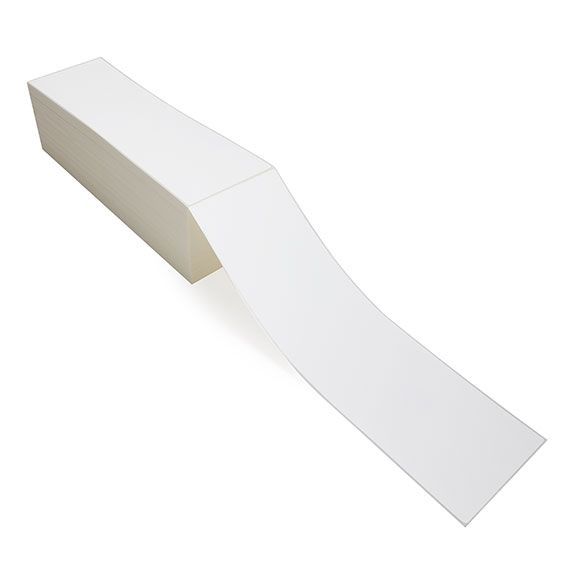 """4"""" x 13"""" White Matte Paper - Thermal Transfer Labels - Fanfold"""