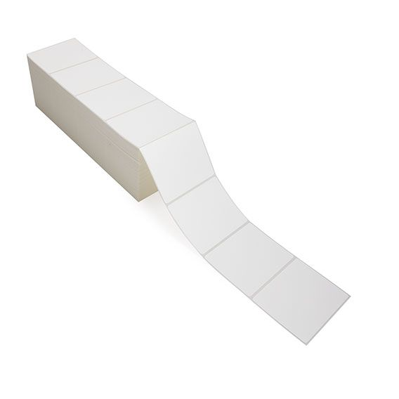 """4"""" x 3"""" White Matte Paper - Thermal Transfer Labels - Fanfold"""