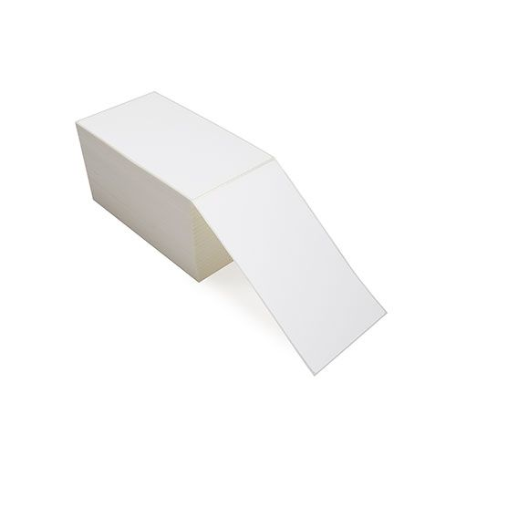 """4"""" x 7"""" White Matte Paper - Thermal Transfer Labels - Fanfold"""