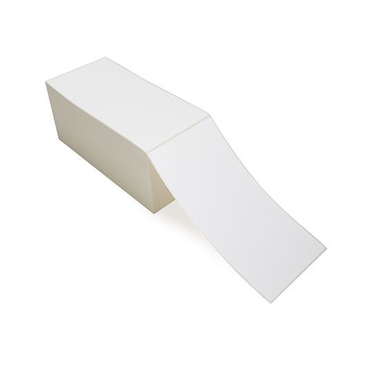 """4"""" x 8"""" White Matte Paper - Thermal Transfer Labels - Fanfold"""