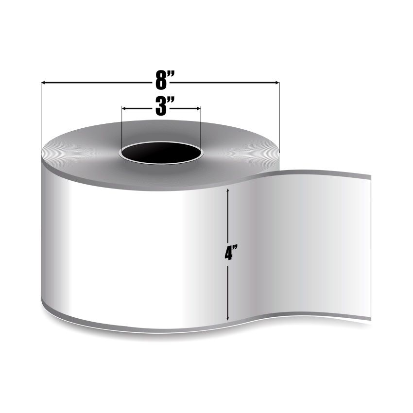 """4"""" x 510' Continuous Feed White Matte Paper - Thermal Transfer Labels - 3"""" Core"""