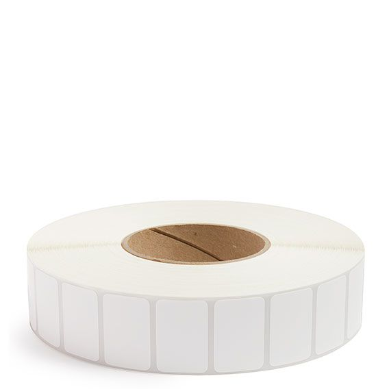 "1.5"" x 1"" White Matte Paper - Thermal Transfer Labels - 3"" Core"