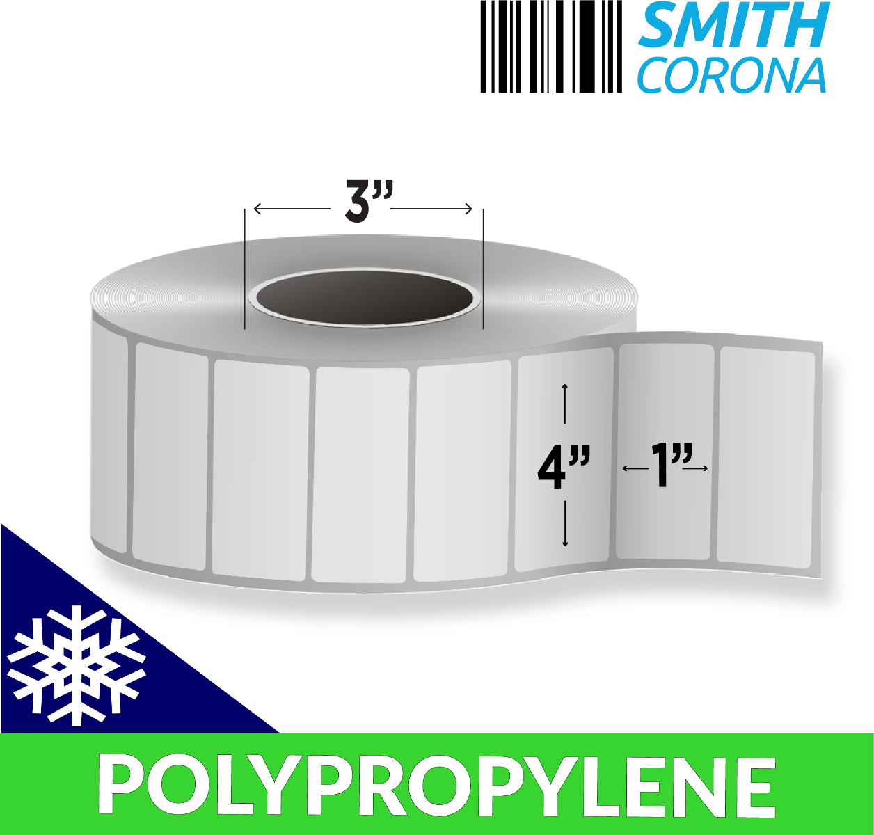 "4"" x 1"" Polypropylene (Freezer Grade) - Direct Thermal Labels - 3"" Core"