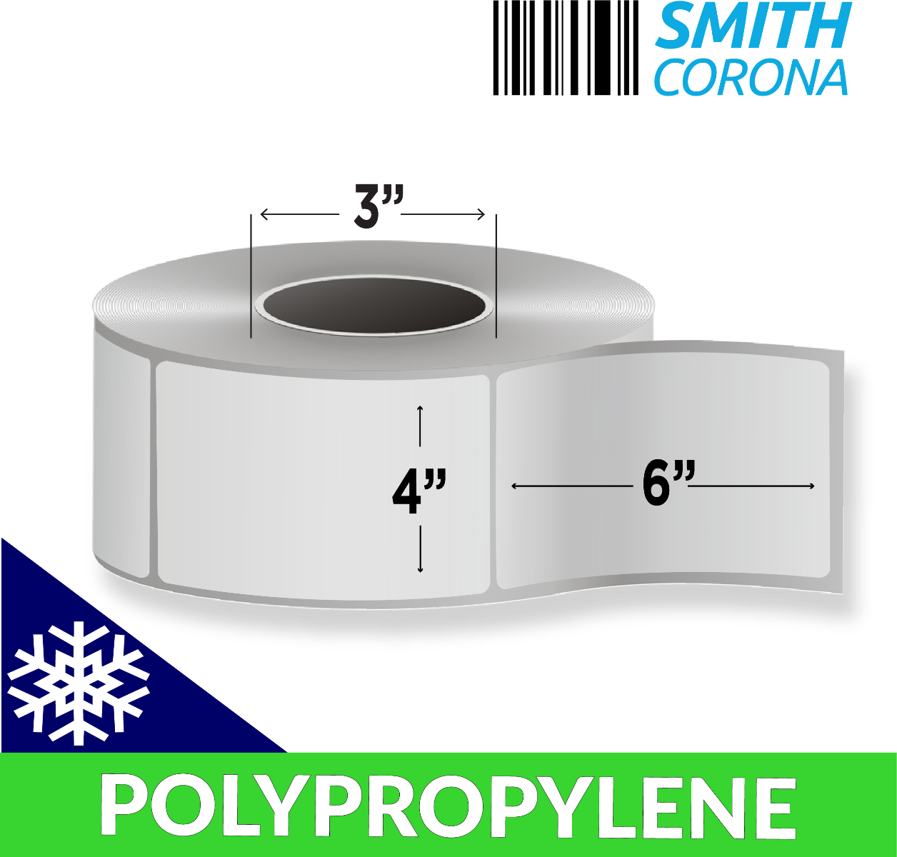 "4"" x 6"" Polypropylene (Freezer Grade) - Direct Thermal Labels - 3"" Core"