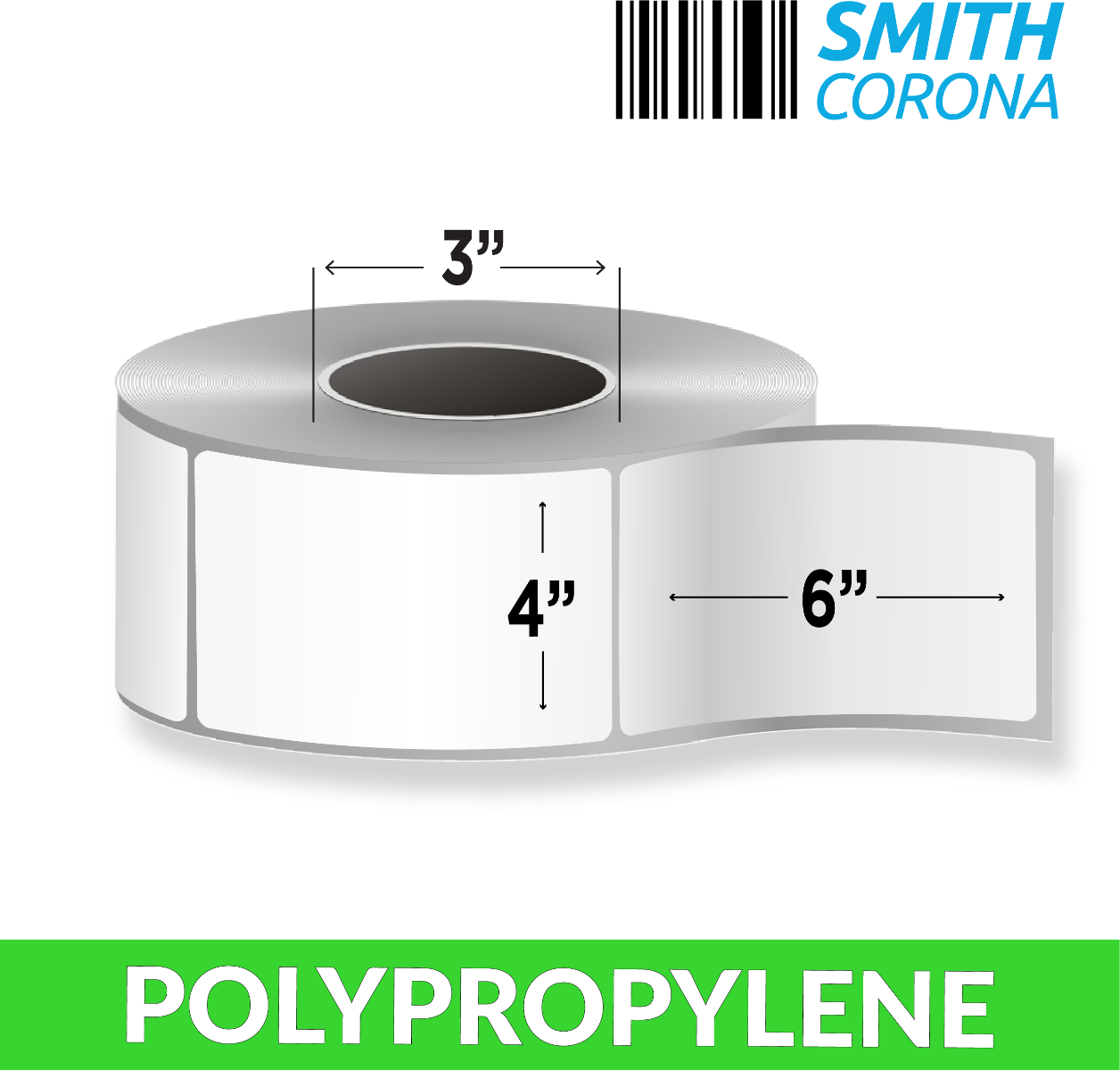 "4"" x 6"" Polypropylene - Thermal Transfer Labels - 3"" Core"