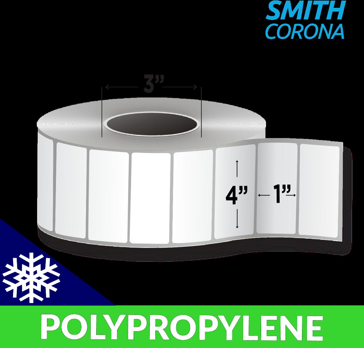 "4"" x 1"" Polypropylene (Freezer Grade) - Thermal Transfer Labels - 3"" Core"