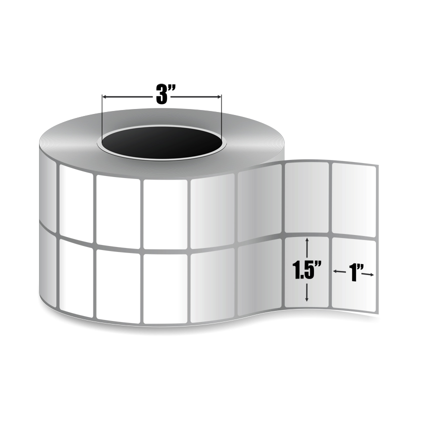 """1.5"""" x 1"""" (2-Up) Thermal Transfer Labels - 3"""" Core-4"""