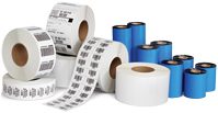 Assortment of thermal labels and thermal ribbons