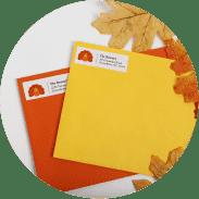 Envelopes with mailing address labels