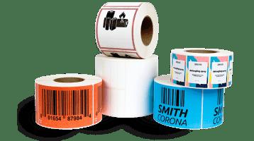 Assortment of rolls of custom labels