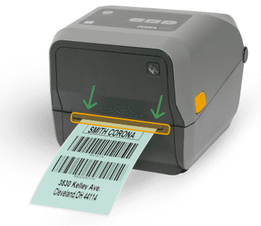 A mobile printer ejecting a printer label with the width of the label highlighted in orange