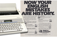 Smith Corona personal word processor alongside its marketing materials