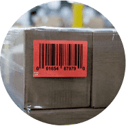 Packages with an orange shipping label